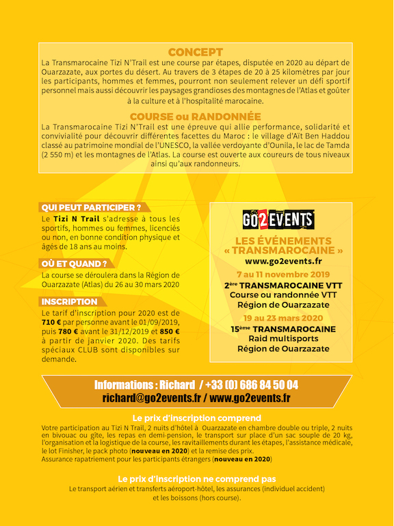 Flyer Tizi N'Trail 2020 verso - GO2EVENTS